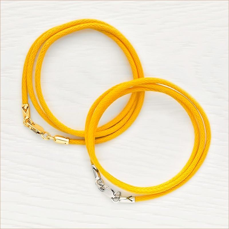 Гайтан желтый хлопковый 73529, универсальный по толщине 2 мм, длина 40-45 см