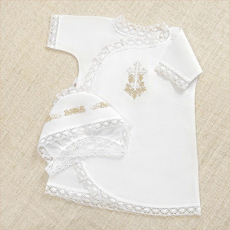 распашная крестильная рубашка и чепчик из набора