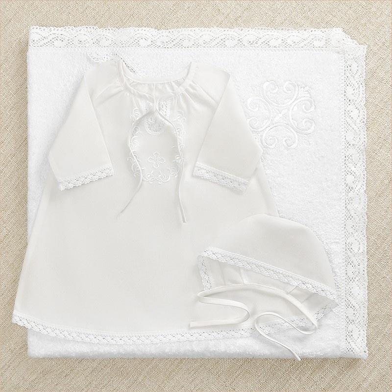 крестильный набор Людмила с кружевным полотенцем