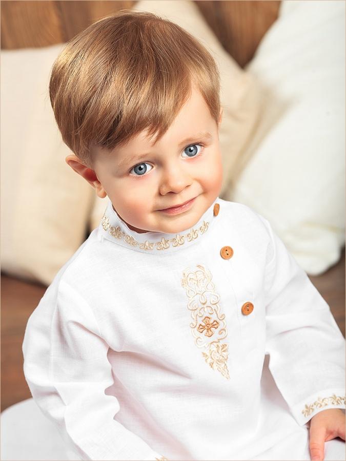 крестильная льняная косоворотка для мальчика