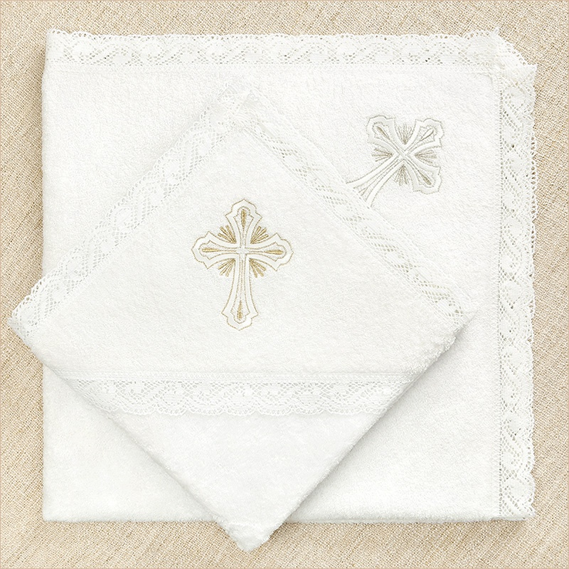 """кружевное крестильное полотенце """"Лучезарный крест"""""""