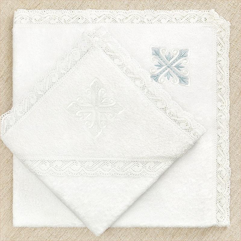 полотенце с лучистым крестом для крещения ребенка