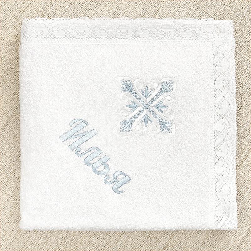 вышивка имени мальчика на полотенце под крестиком