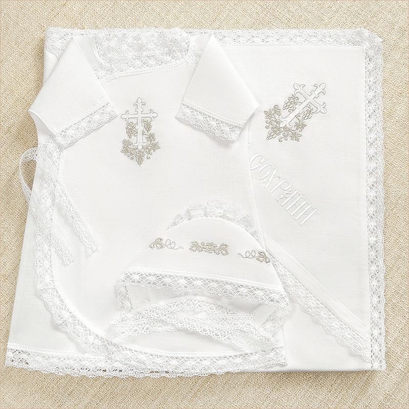 набор для крещения ребенка с серебряным кружевом и вышивкой