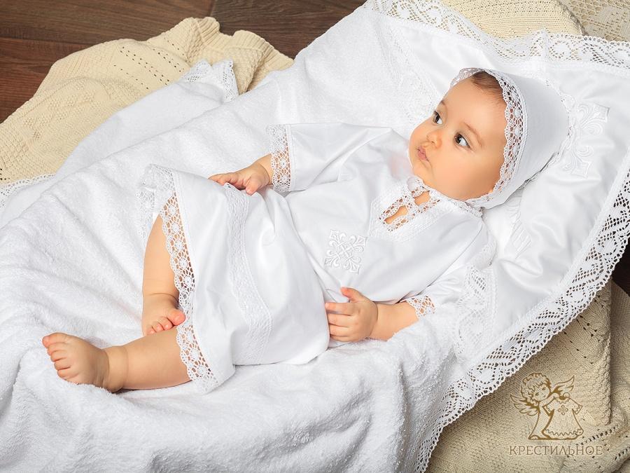 полный крестильный набор с полотенцем Классика