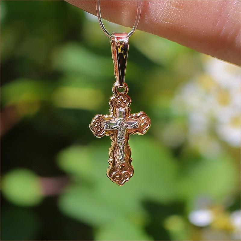 золотой крестик арт.10341