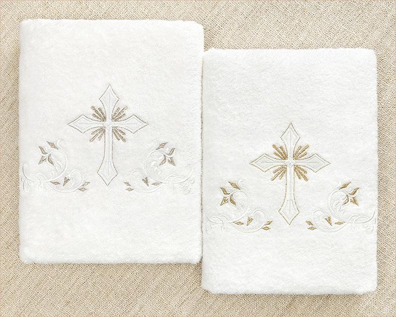 крестильное полотенце с серебряной и золотой вышивкой