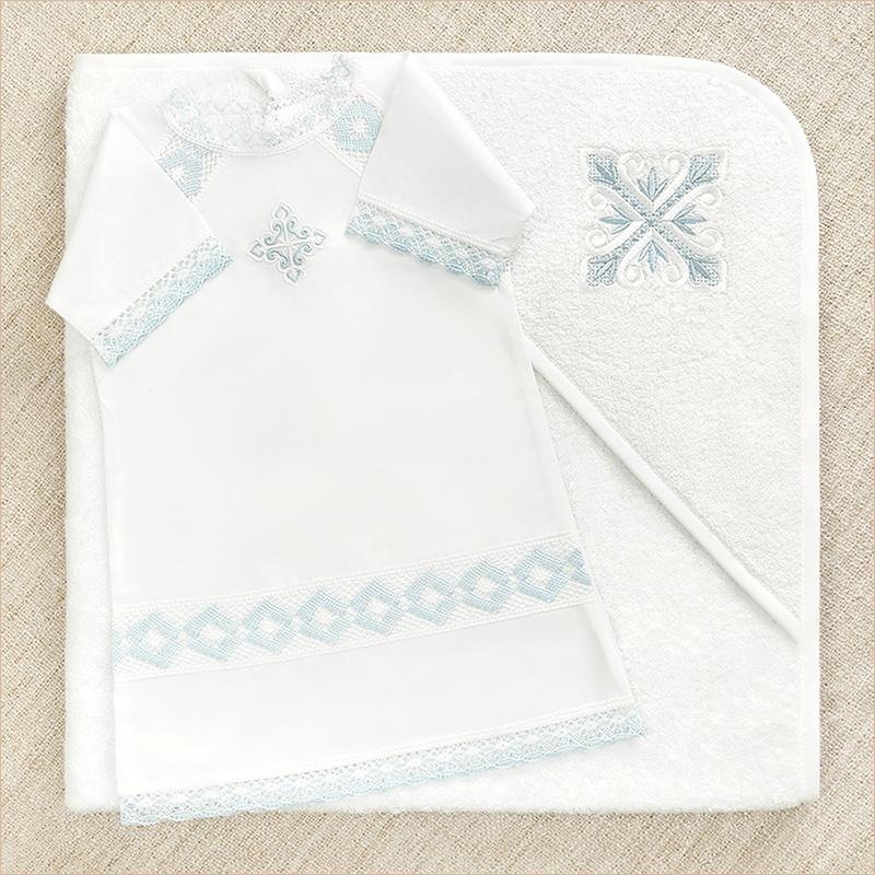 полотенце с капюшоном для крещения и рубашка Александр