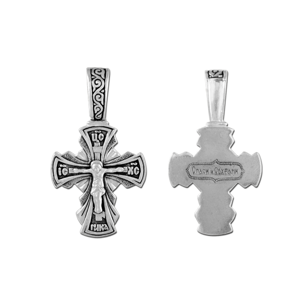 серебряный крестик елизавета 03502