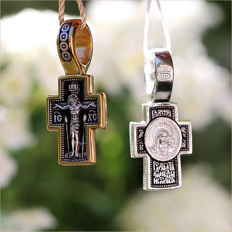 крест в серебре и позолоте, арт.08017