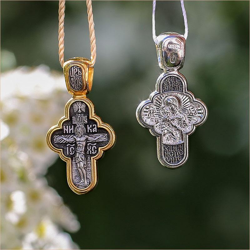 крестик в позолоте и серебре, арт.08156