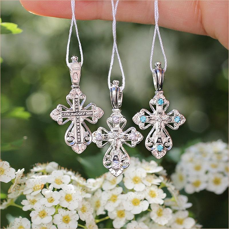 серебряные кресты с фианитами