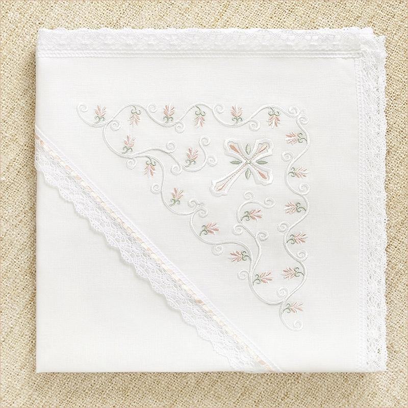 """Льняная пеленка с капюшоном """"Серафима"""" для крещения девочки"""
