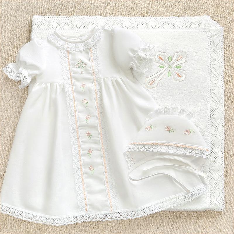 крестильный набор Серафима с кружевным полотенцем для девочки