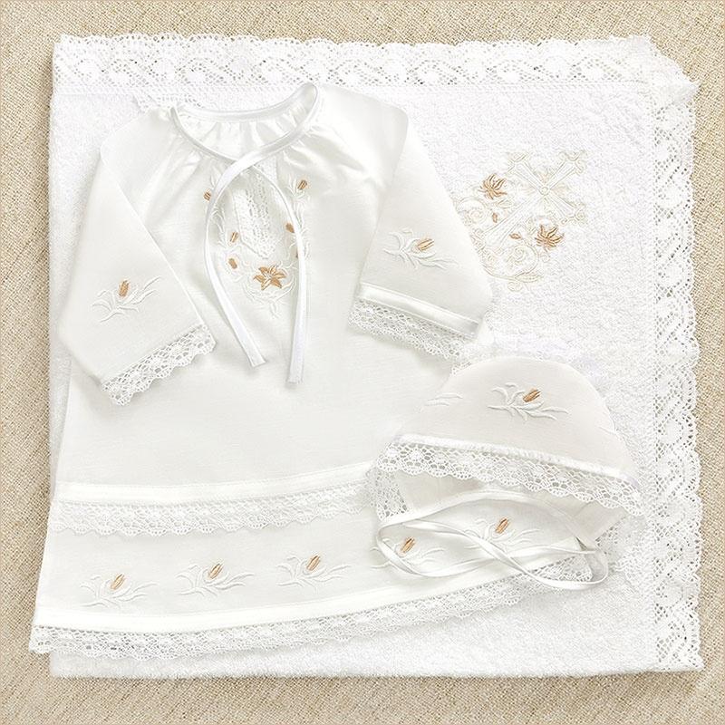набор для крестин девочки с кружевным махровым полотенцем, сорочкой и чепчиком