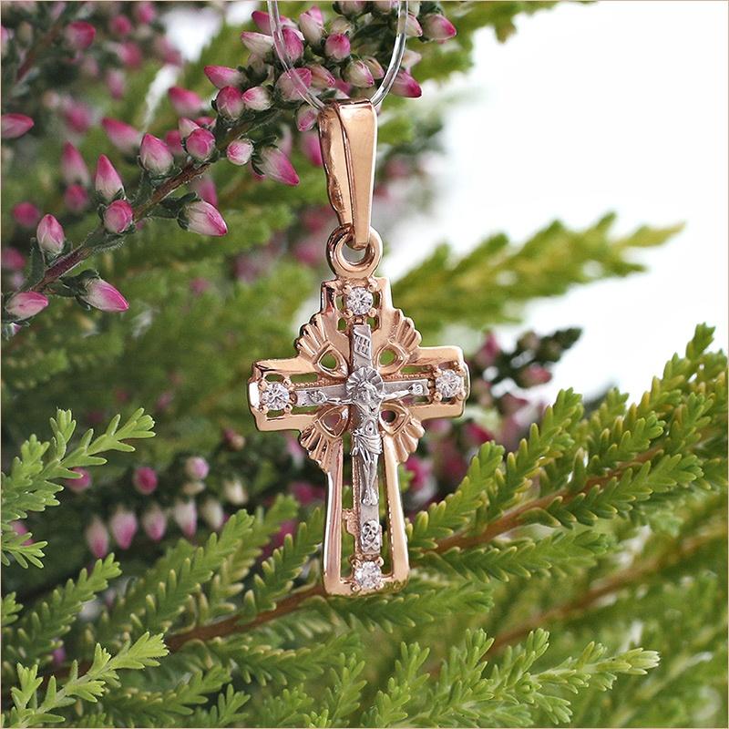 золотой ажурный крестик с фианитами завод Аквамарин