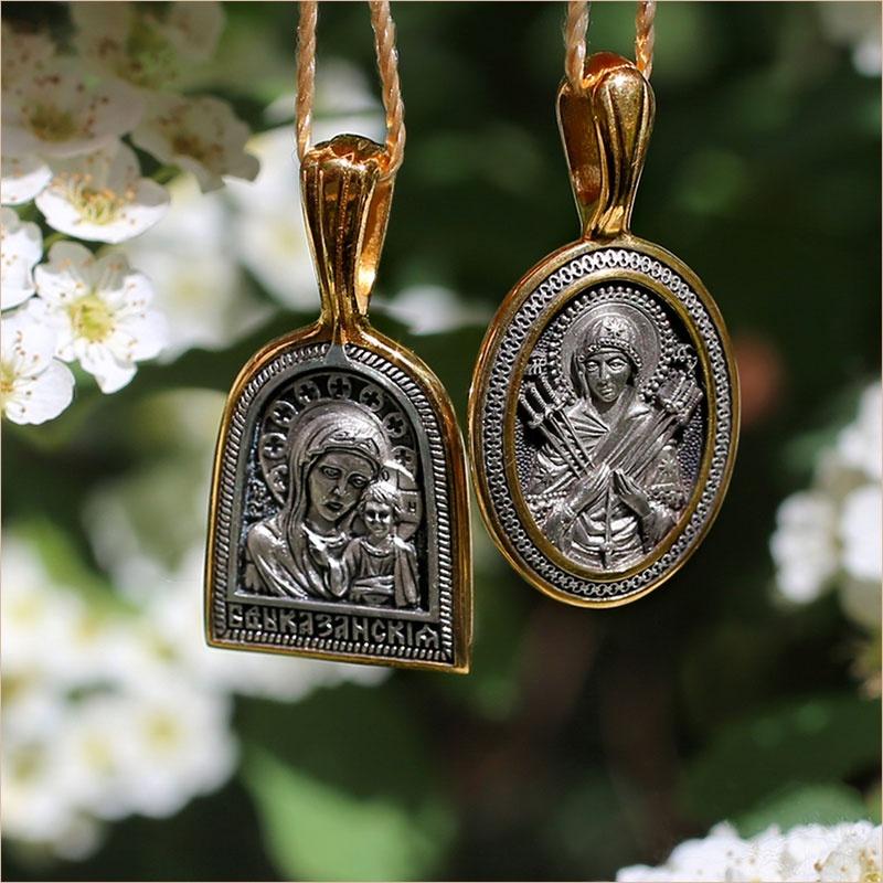 Образа Казанской и Семистрельной икон Богородицы в серебре с позолотой и чернением