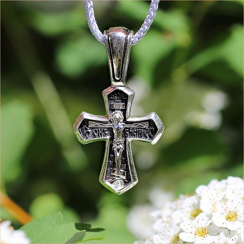 серебряный крест с чернением 8235
