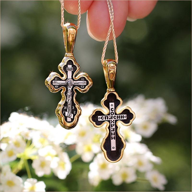 серебряный крестик с позолотой арт.08132 - нательный православный, подходит ребенку
