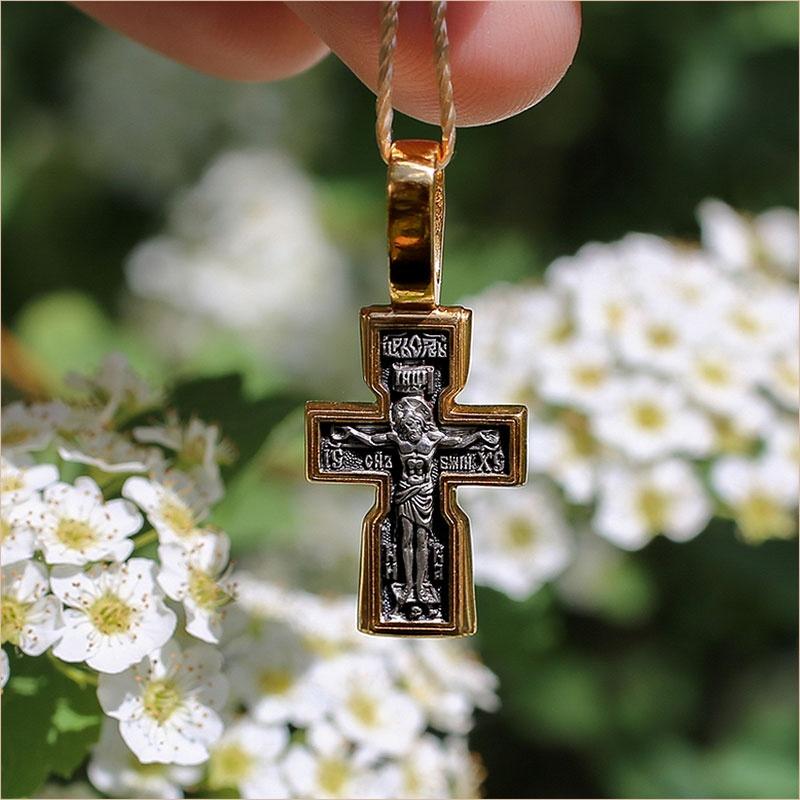 Позолоченный крест 08232 из серебра 925 пробы для крещения мальчика