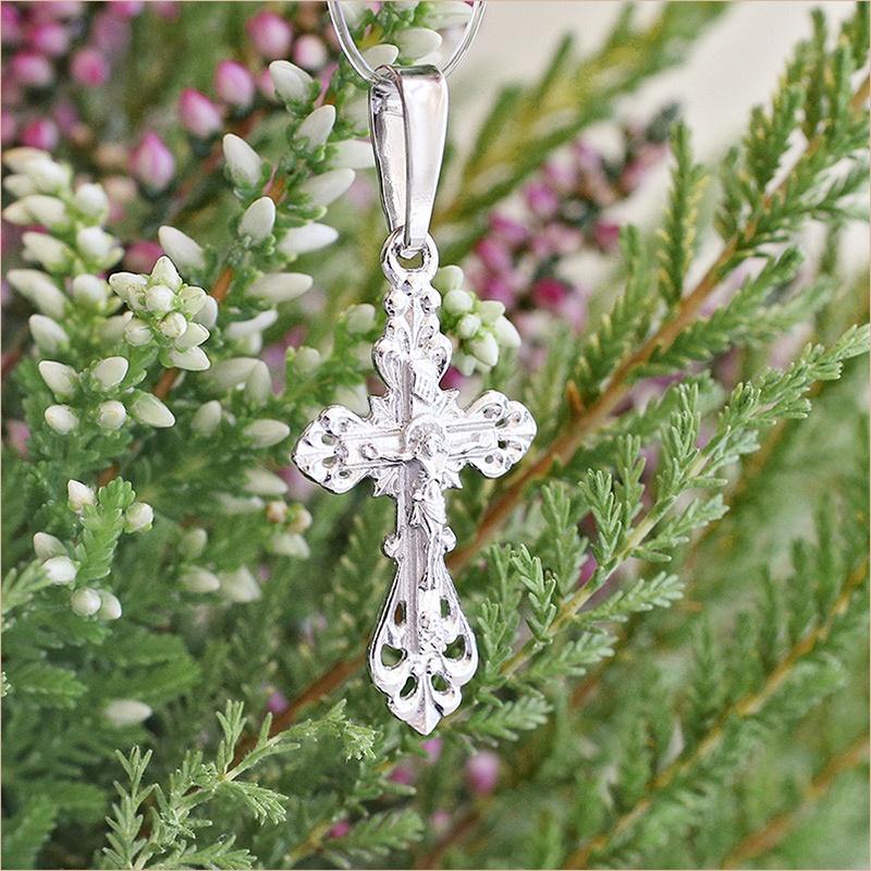 крестик арт.10185 из серебра для крещения ребенка