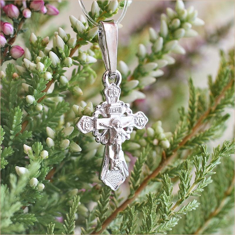 серебряный крестик для ребенка арт.11157 освященный