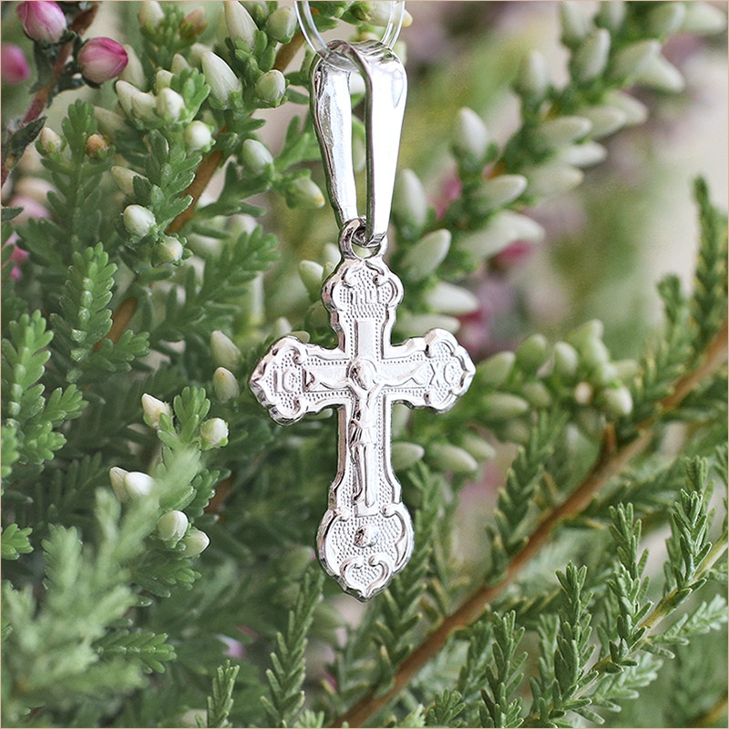 серебряный крестик для ребенка арт.11204 освященный