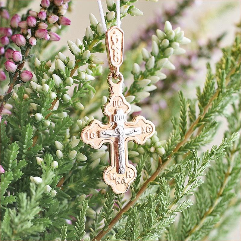 крестик из красного золота арт.35223 Алмаз-холдинг