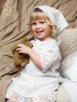 кружевная крестильная рубашка для девочки и косынка